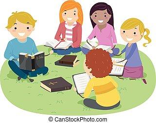 bijbel, stickman, studeren, illustratie, buitenshuis, tieners