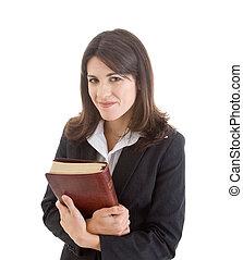bijbel, vasthouden, vrijstaand, kaukasisch, vrouw, achtergrond, witte , dichtbij, het glimlachen