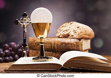bijbel, voorwerpen, wijn., heilig, brood