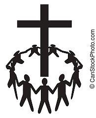 bijeenkomen, mensen, kruis, ongeveer