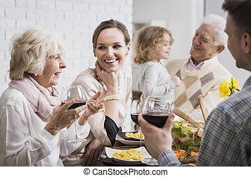 bijeenkomst, gezin, vrolijke