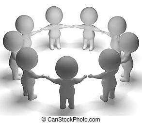 bijeenkomst, van, 3d, karakters, optredens, gemeenschap, of,...