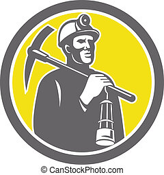 bijl, mijnwerker, steenkool, lamp, plukken, voorkant, hardhat, cirkel