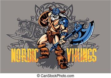 bijl, strijder, viking, groot