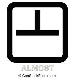 bijna, concept, pictogram, op wit