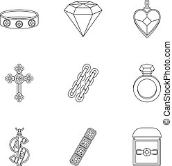 Bijou icon set, outline style