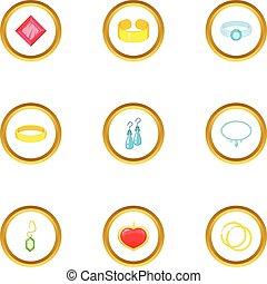 Bijou icons set, cartoon style