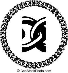 bijou, vecteur, silhouette, seamless, chaîne