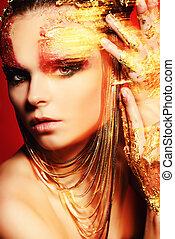 bijouterie - Art project: beautiful woman with golden make-...
