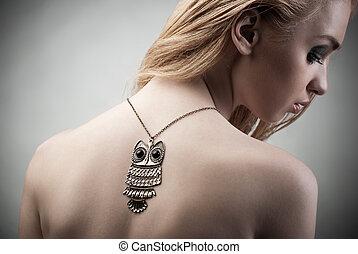 bijouterie, beauté, necklace., femme, beau