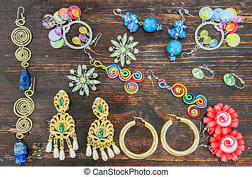 bijouterie, earrings., divers, women., types, déguisement