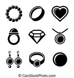 bijouterie, icônes, ensemble