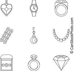 Bijouterie icon set, outline style