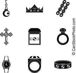 Bijouterie icon set, simple style