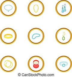 Bijouterie icons set, cartoon style