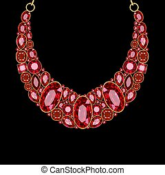 bijouterie or, collier, rubis, rouges, illustration