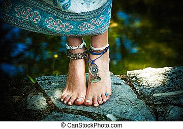 bijouterie, pieds nue, style, mode, été, femme, boho