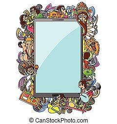 bijoya, subho, ambulant, doodle, ansøgning, affattelseen