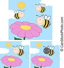bijtjes, op, vliegen, flower., verzameling