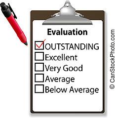bijzonder, werk, mark, pen, klembord, evalution, controleren