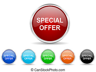 bijzondere , aanbod, pictogram, set