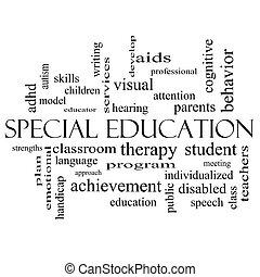 bijzondere , opleiding, woord, wolk, concept, in, zwart wit