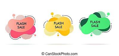 bijzondere , spandoek, mal, vloeistof, beweeglijk, set., moderne, illustratie, banners., verkoop, aanbod, dynamisch, vector, fantastisch, design.