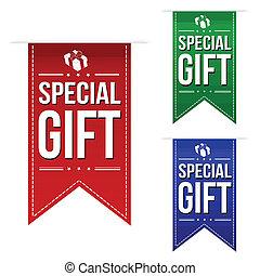 bijzondere , spandoek, set, cadeau, ontwerp