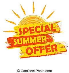 bijzondere , zomer, aanbod, met, zon, meldingsbord, gele,...