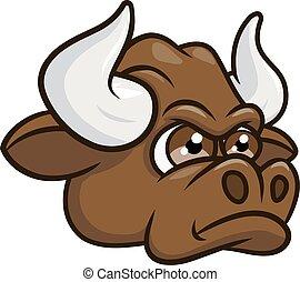 bika, mérges, 2, fej, karikatúra