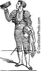 bikaviador, szüret, torero, vagy, engraving.