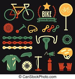 Bike and accessories set for bicycle. flat vector set