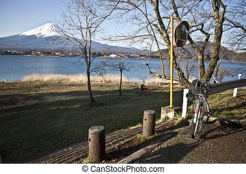 Bike and Beautiful Mount Fuji with lake, japan