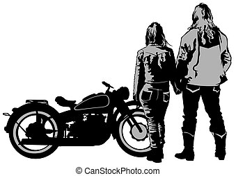 Couples people and retro bike on white background