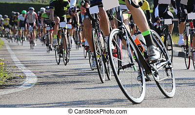 bike and professional cyclists during the cycling race on asphalt road