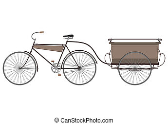 Bike and trailer - Carrier bicycle silhouette on a white...