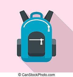 Bike backpack icon, flat style