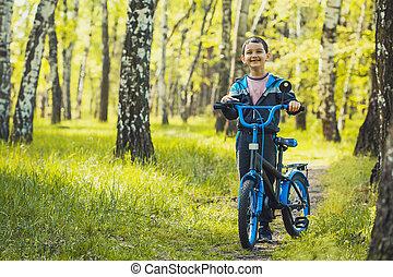 bike., berg, geitje, bos, vrolijke , ritten, fietser