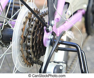 bike cassette on the wheel with chain