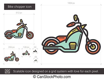 Bike chopper line icon.