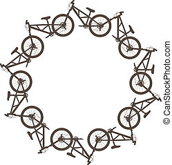 Bike circle - Vector illustration with bikes in a circle