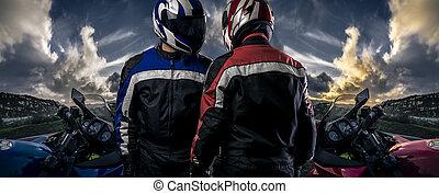 Bike Club or Motorcycle Racing - HDR composite of bikers or...