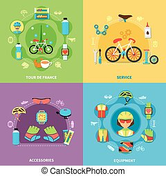 Bike Concept Icons Set