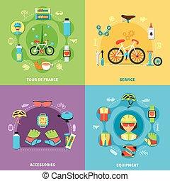 Bike Concept Icons Set