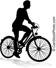 Bike Cyclist Riding Bicycle Silhouette - A bicycle riding...