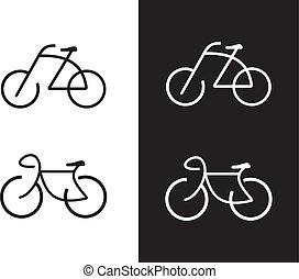 bike, -, cykel, ikon
