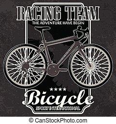 Bike emblem with grunge elements.