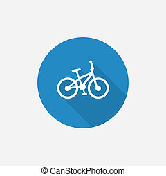 bike Flat Blue Simple Icon with long shadow