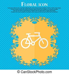 bike. Floral flat design on a blue abstract background with place for your text. Vector