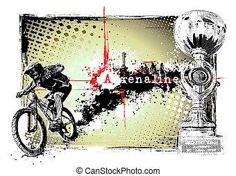 bike frame - adrenaline bike in the grungy background